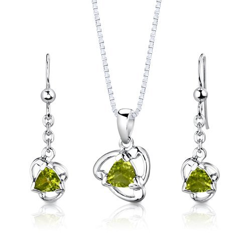 Peora Sterling Silver Rhodium Finish 2.50 carats total weight Trillion Cut Peridot Pendant Earrings and 18 inch Necklace Set