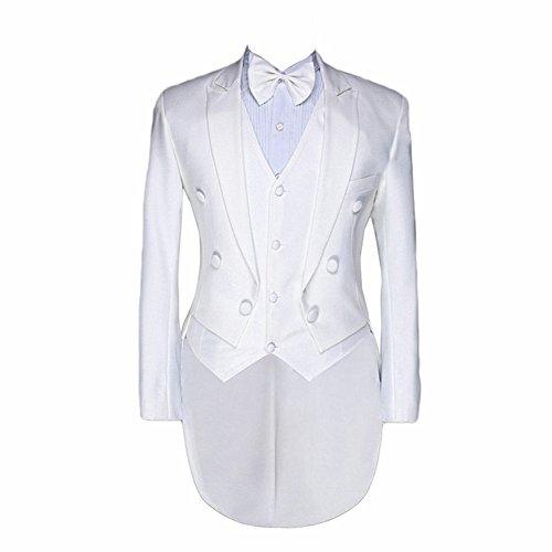 Suit Me Uomo 3 parti di costumi adatti frac gilet pantaloni smoking giacca Bianco