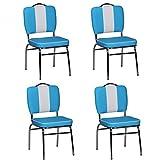 FineBuy 4er Set Esszimmerstühle King American Diner 50er Jahre Retro 4 Stühle | Sitzfläche gepolstert mit Rücken-Lehne | Essstuhl Sitzhöhe 76 cm | Farbe Blau Weiß