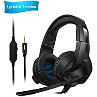 [Updated Version]Gaming Headset for PS4/XBox One,Amicool Stereo Bass Surround/Noise Reduction/Volume Control/Over-Ear Gaming Headphone with Mic for Laptop PC Mac Computer and Smartphone