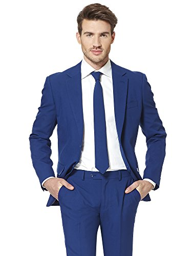 e Solid Navy Blue Suit For Men Coming With Pants, Jacket and Tie - 100% Money Back Guarantee (Dapper Day Kostüme)