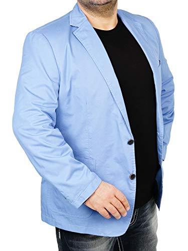 bonprix Herren Sakko untersetzt Comfort Fit Baumwoll Übergröße Blazer Zweiknopf Jackett Anzug Langgröße bequem Spezialgröße, Größe 27, hellblau - Leinen-einreiher Sakko
