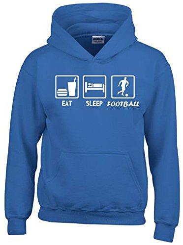 EAT SLEEP FUSSBALL Kinder Sweatshirt mit Kapuze HOODIE blau-weiss, Gr.128cm (Sweatshirts Kinder Für Fußball)