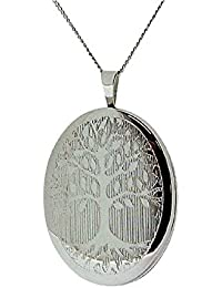 TOC Sterling Silver Tree Of Life Oval Locket 20mm Necklace 18""