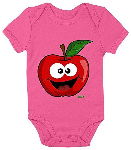 HARIZ Baby Body Kurzarm Apfel Lachend Früchte Bunt Inkl. Geschenk Karte Einhorn Fuchsia 3-6 Monate
