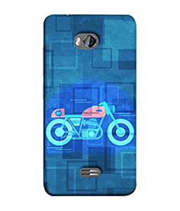Micromax Bolt Q336 Back Cover Bike Design Print Blue Shade Background Design From FUSON