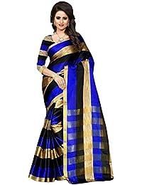 Indian Fashionista Women's Banarasi Cotton Saree with Unstitched Blouse Piece, Free Size(Red, MHVR190-AURACOTTON-1)