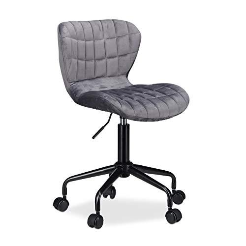 Relaxdays Bürostuhl, stufenlos höhenverstellbarer Drehstuhl, Stoff, bequem, 120 kg belastbar, HBT: 90 x 53 x 53 cm, grau - Stuhl Büro Computer