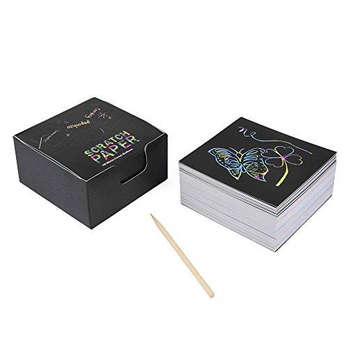ewtshop Kratzbild-Zettelwürfel Scratch-Paper, 100 Blatt mit Holz-Stift in praktischer Spenderbox (Bambus-blätter 100%)