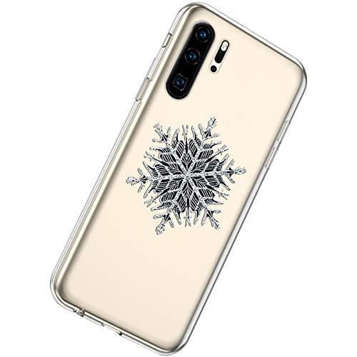 Herbests Kompatibel mit Huawei P30 Pro Handyhülle Weihnachten Motiv Muster Durchsichtige Silikon Hülle Transparent Ultra Dünn TPU Crystal Clear Case Schutzhülle,Weihnachten Schneeflocke