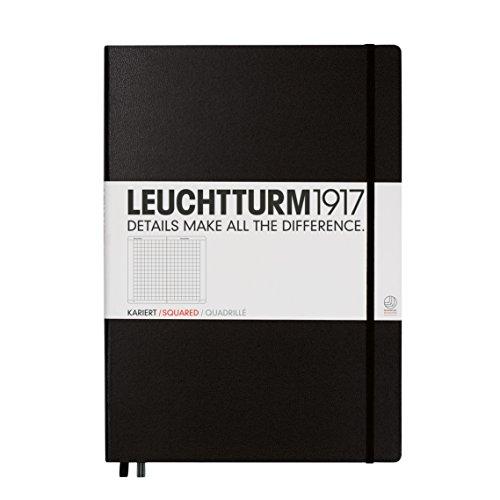 Leuchtturm1917 307959 Master Classic Notizbuch (A4+, Kariert, Hardcover) 233 Seiten schwarz