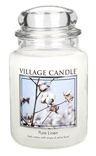 Village Candle 106326339 Reines Leinen große Duftkerze, 737 g, Glas, weiß, 10.4 x 10.8 cm
