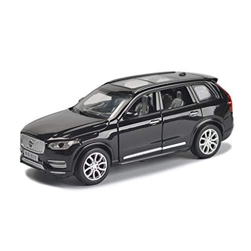 LBYMYB Modellauto Volvo XC90 Geländewagen SUV1: 32 Simulation Druckgusslegierungsspielzeugauto Ton und Licht ziehen Sich Modellauto zurück (Farbe : Schwarz)