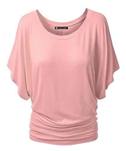 Smile YKK T-shirt Manches Courte Femme Chemise Top Haut Blouse Eté Col Rond Casual Amincissant Rose