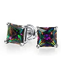 Bling Jewelry Square Simulated Rainbow Topaz CZ Screwback Sterling Silver Stud Earrings 8mm