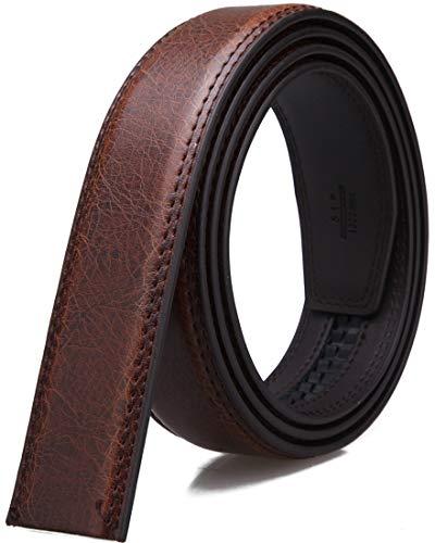 MaxBelt hombres moda lujo cuero cintura cinta automática cintura correa sin Hebilla, 3,5 cm de ancho (Color 5, 130cm/34-44' cintura ajustable)