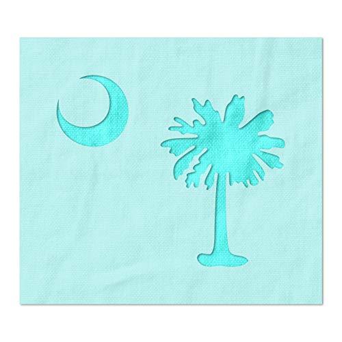 Schablone mit Südcarolina-Flagge, Palmetto-Baum und Mond, 14 mm, Mylar-Kunststoff 6 x 5.03 inches (Us-flagge Schablone)