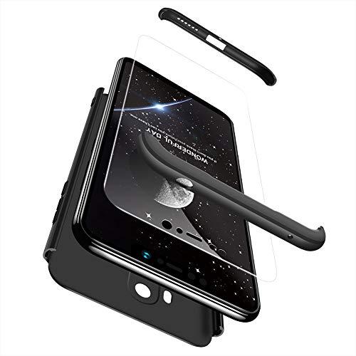 Ququcheng Xiaomi Pocophone F1 Hülle,Xiaomi Pocophone F1 Schutzhülle[Mit Displayschutz] 3 in 1 Ultra dünn Hard Shell Case 360 Grad Schutz Tasche Etui Handyhülle Cover für Xiaomi Pocophone F1-Schwarz