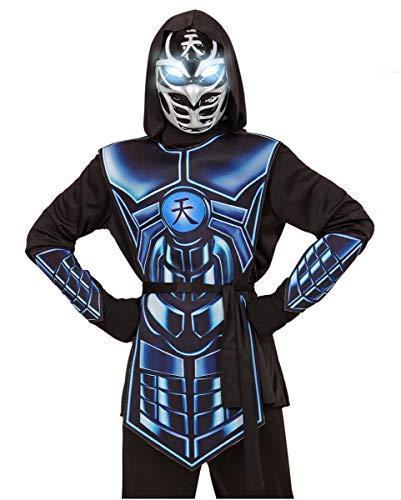 Augen Leuchtende Kostüm - Horror-Shop Cyber Ninja Kostüm mit leuchtender Augen Maske M / 8-10 Jahre