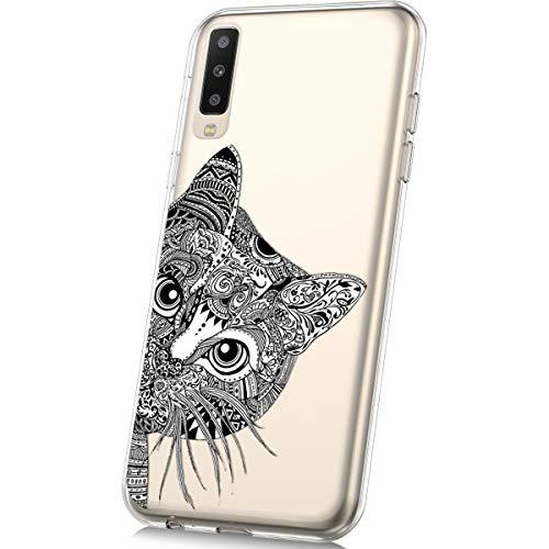 JAWSEU Kompatibel mit Samsung Galaxy A50 Hülle Silikon Bunte Gemalt Muster Transparent TPU Silikon Schutz Handy Hülle Handytasche Schutzhülle Case Etui Für Galaxy A50 - Katze -