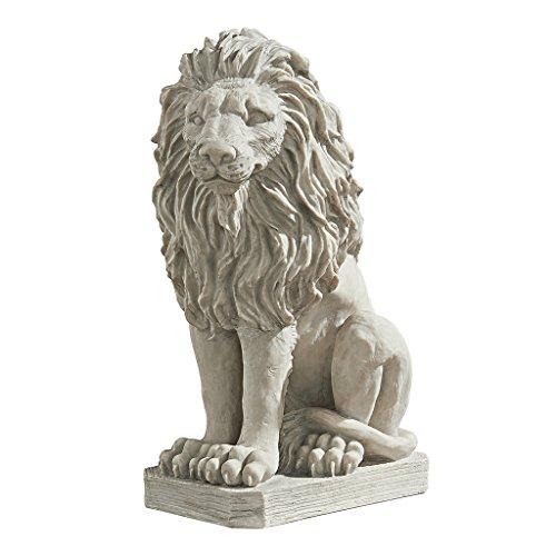Design Toscano Löwenwache Mansfield Manor Tierstatue, Polyresin, Antikes Steingrau, 53,25 cm - Outdoor-löwen-statuen