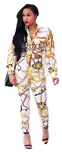 Neue Damen 2Stück weiß & gold Kette Drucken Leggings & Shirt Set Hose Jumpsuit Catsuit Clubwear Kleidung Größe UK 10EU 38 (Weiß Anzug 2 Damen Stück)