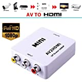 Haolv Konverter Adapter Video Upscaler HD AV2HDMI Composite AV CVBS 3RCA Zu HDMI 1080P,White