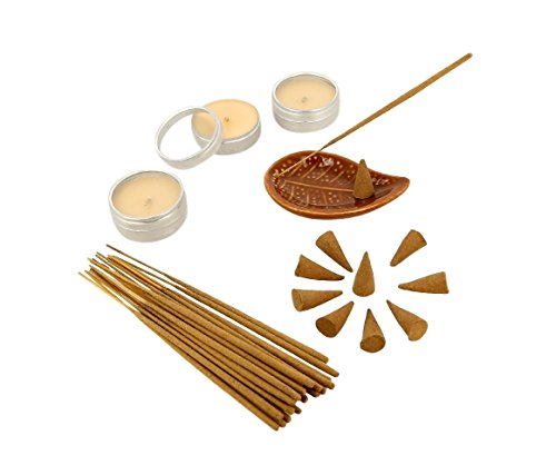 Regalo Sandalo Fragranza Set con 25 Coni incenso, 25 bastoni, 3 Candele e ceramica Holder Leaf incenso - Bella regalo per ogni occasione