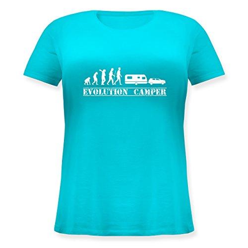 Evolution - Evolution Camper Weiß - Lockeres Damen-Shirt in Großen Größen mit Rundhalsausschnitt Türkis