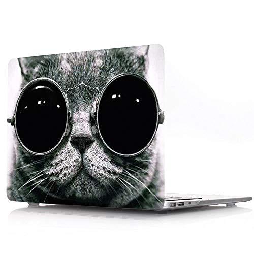 HRH Coole Katze mit Brille Design Laptop Body Shell Schutz PC Hard Case für Apple MacBook Air 11