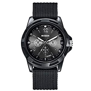 DOLDOA Mens Round Dial Canvas Strap Band Boys Military Army Quartz Wrist Watch Gift for Friend,Sale Clearance