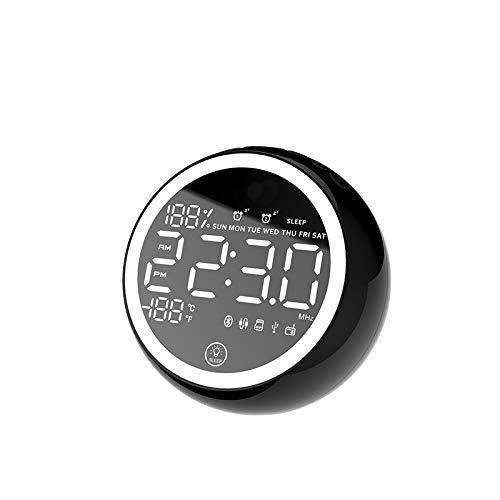 Autotipps X10 Bluetooth Wecker Digital Funkuhr Radiowecker mit 2 Weckzeiten, Temperaturanzeige, Snooze, Dimmer, 12/24 Stundenanzeige, 4 Zoll Runde Bildschirm (Schwarz)