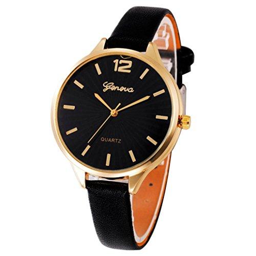 Armbanduhr Damen Uhr Xinnantime Casual Checkers Faux Leder Analoge Quarz Damenuhr Frauen Farbe 6 (Standard, Schwarz)