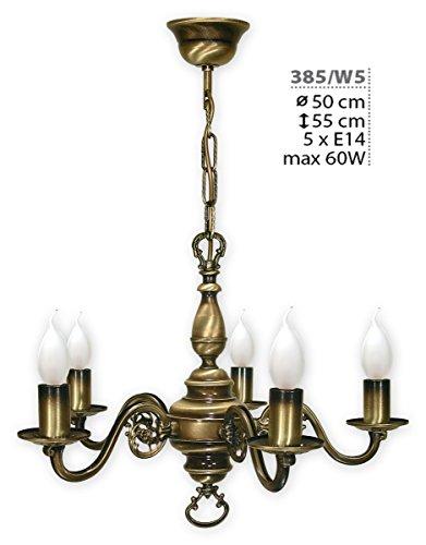 Kroneleuchter mit Kette , 5 flammig Deckenlampe , Lampe in Gründerzeit Stil , Deckenleuchte von...