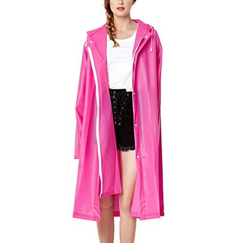 IZHH Mode Damen Regenjacke, Kapuze Transparente Eva Mantel Feste Taschen Winddicht Freien Outwear Wasserdichte Splice Windjacke Regen Zubehör für Camping und Reisen(Rot,Large)