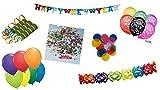 Dekoset Partyset Silvester bunt: Luftschlangen, Ballons bunt & 2019, Girlande & Konfetti Happy New Year, Riesen-Konfetti rund, Girlande