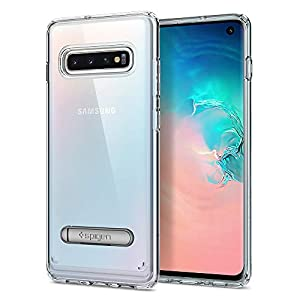 Spigen [Ultra Hybrid S] Galaxy S10 Case Cover with Magnetic Kickstand and Hybrid Protection Designed for Galaxy S10 (2019) - Crystal Clear