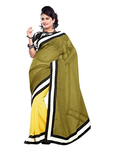 Designer Linan+Chiffon Half Half Blouse Fancy Bhagal Puri Print Fabric Sarees