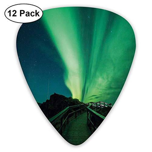 Guitar Picks - Abstract Art Colorful Designs,Wooden Bridge Solar Sky Scenic Radiant Rays Arctic Magic Scenery,Unique Guitar Gift,For Bass Electric & Acoustic Guitars-12 Pack