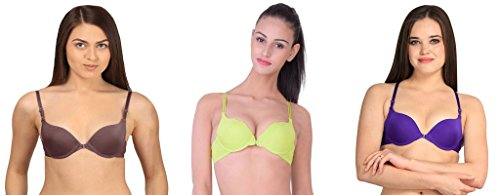 Gopalvilla Brown & Yellow & Purple Everyday Multipurpose Front Closure & Front Open Pushup Bra(Size : 32)(Pack of 3)