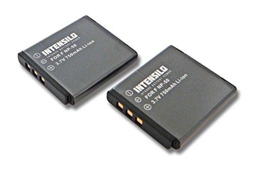 INTENSILO 2X Li-Ion Akku 750mAh (3.7V) für Kamera Camcorder Kodak Playsport Waterproof Pocket-Camcorder wie NP-50, D-Li122, GB-20.