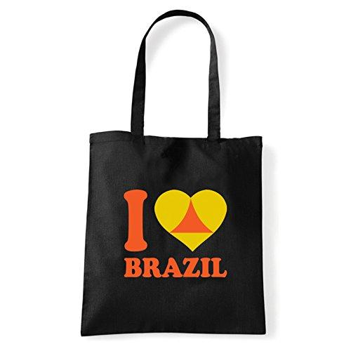 Art T-shirt, Borsa Shoulder I Love Brazil, Shopper, Mare Nero
