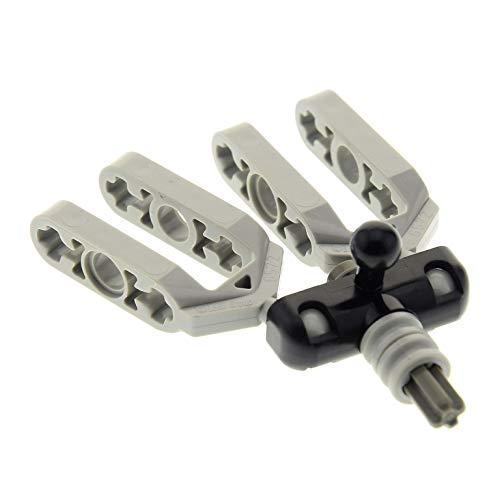 1 x Lego Technic Rad Achs Aufhängung Stein schwarz klein mit Kugelgelenk Gabel alt-hell grau Technik Lenkung Auto Fahrzeug 6572 6571 ()