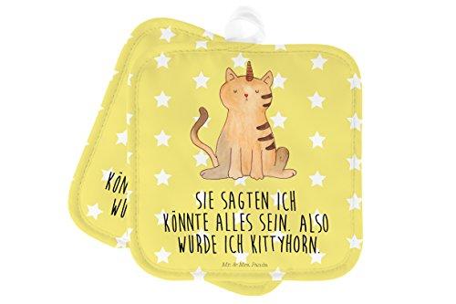 Mr. & Mrs. Panda Küche, Topflappen Set, 2er Set Topflappen Einhorn Katze mit Spruch - Farbe Gelb...