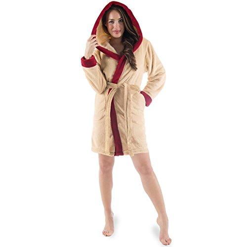Trendiger Bademantel für Damen | kurz | aus flauschig weichem Sherpa-Fleece