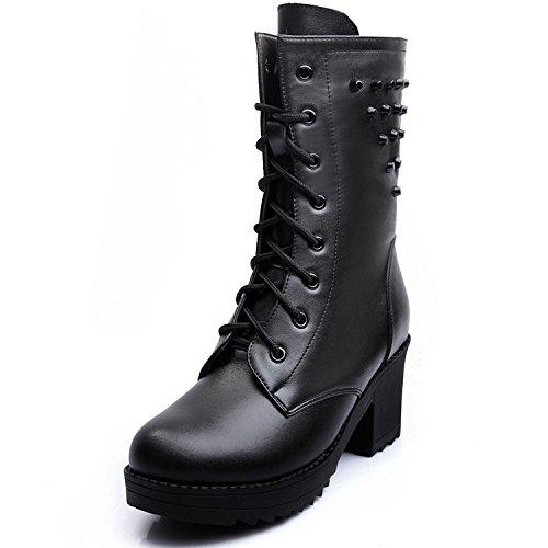 &ZHOU Bottes d'automne et d'hiver Bottes courtes pour femmes adultes Martin bottes bottes Chevalier A6-7 Black