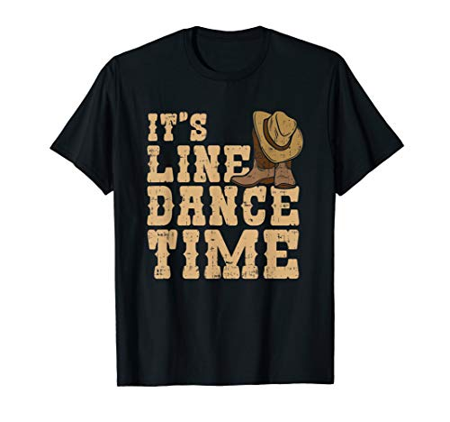 Line Dance Western Country Stiefel It's Line Dance Time T-Shirt (Stiefel Dancing Cowboy)