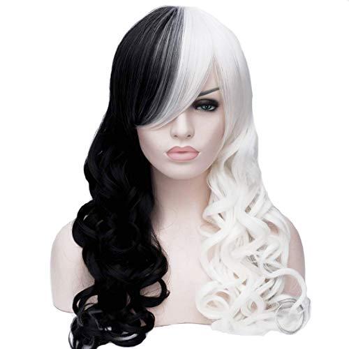 ATAYOU® 22 Inches Halb Schwarz Halb Weiß Frauen Cosplay Synthetische ()