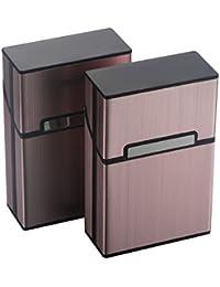 eLander Aluminium Zigarettenetuis [2er/Set, Grau] Magnetisierte Deckel, Elegante Entwurf Aluminium Zigaretten Kasten ¡