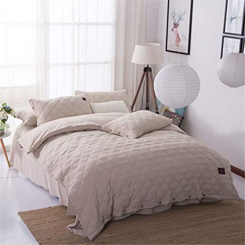 AFTIU Bettlaken-Set Gewaschene Baumwolle Gesteppte Bettwäsche 4-teiliges Set superweiche hypoallergene Falten- und Lichtechtheit,beige,C